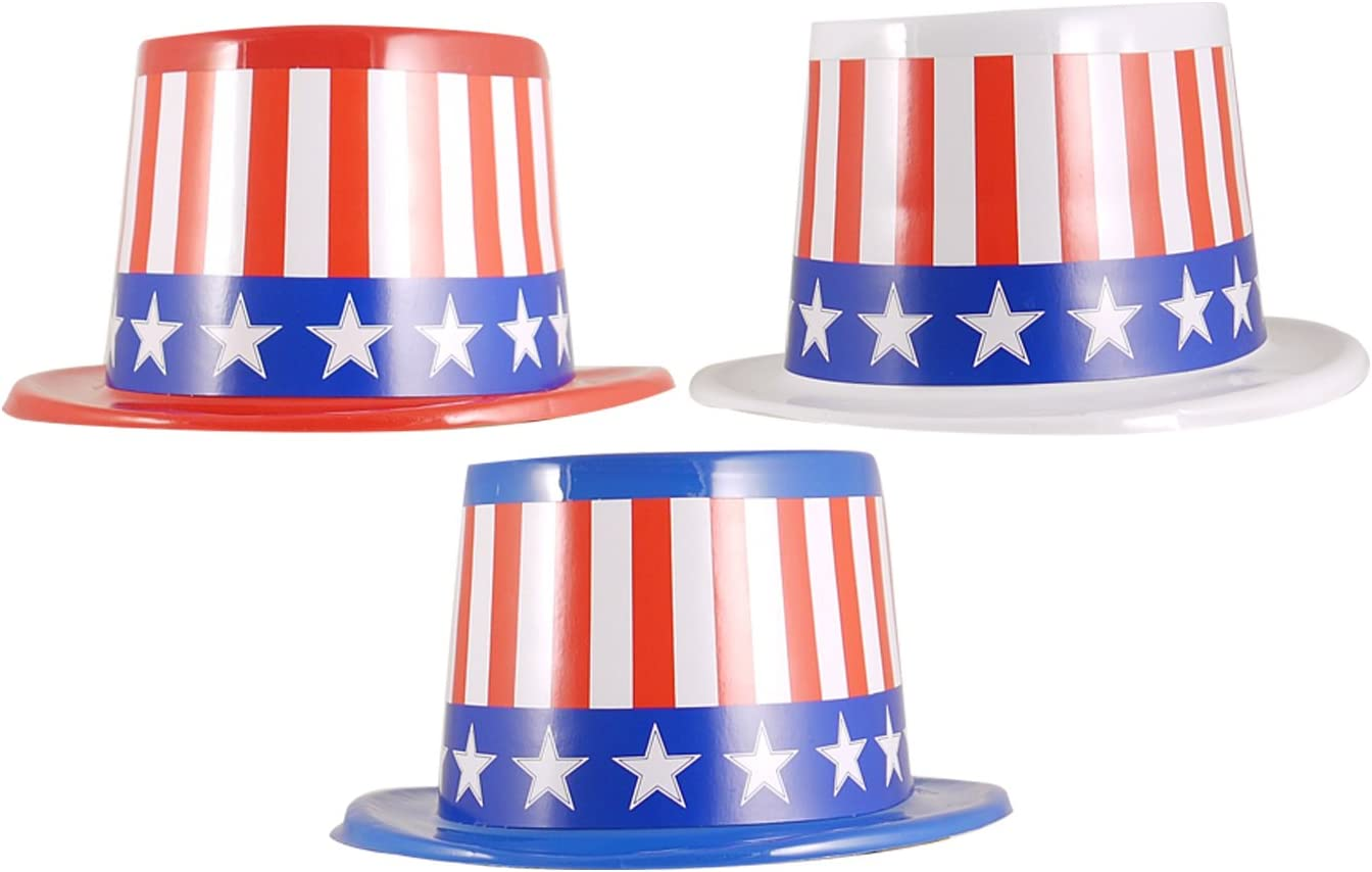 Best Dressed 6x USA TOPPER HATS WITH PAPER BAND FANCY DRESS ACCESSORY