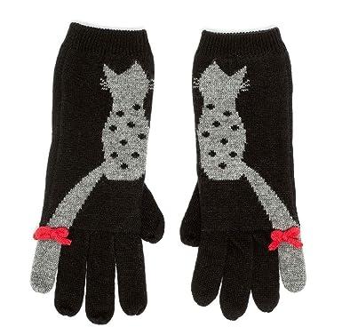 5e358191663 Alice Hannah Flossy Knitted Jaquard Cat Gloves Black  Amazon.co.uk  Clothing
