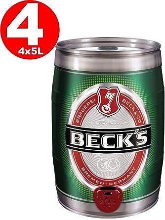 4x Becks Pils 5 litros barril de fiesta 4,9% vol