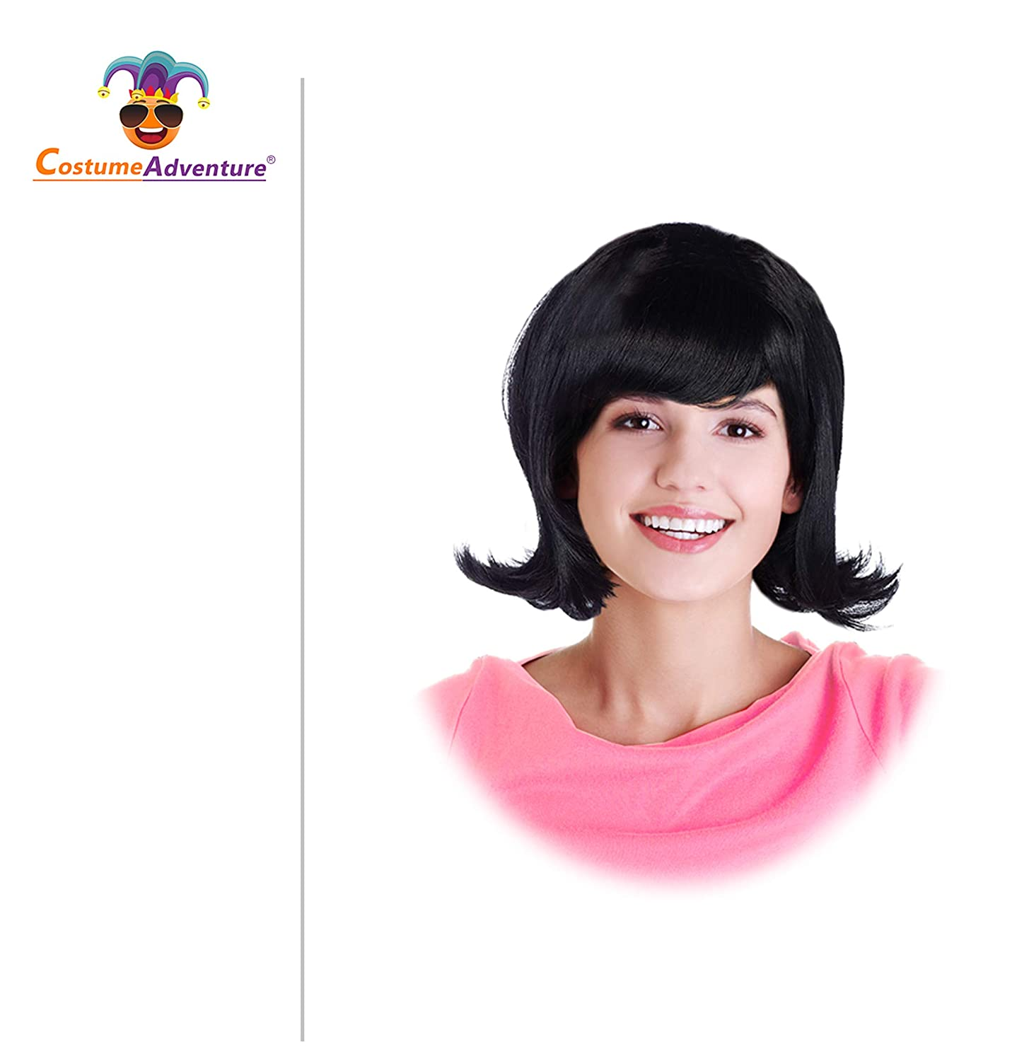 a5cf0e064 Amazon.com: 60s Black Flip Jackie Kennedy Costume Wig 50s Wig for Women Lucy  Wig: Clothing