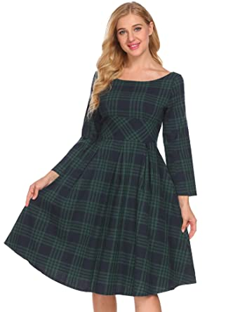 f7cbca5424d Image Unavailable. Image not available for. Color  ACEVOG Women s Long  Sleeve Plaid Print A-Line Flare Midi Dress