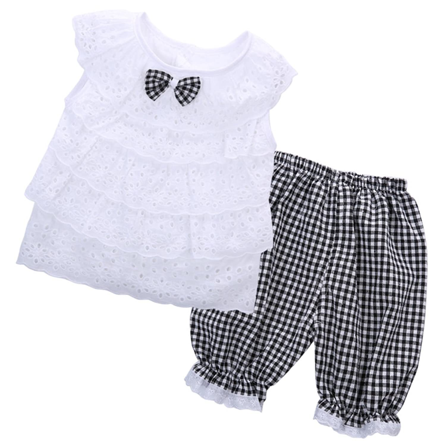 7e0d26824a4d Siddiva White Lace Top & Checks Short Pant (Two Piece Set for Girls – 2