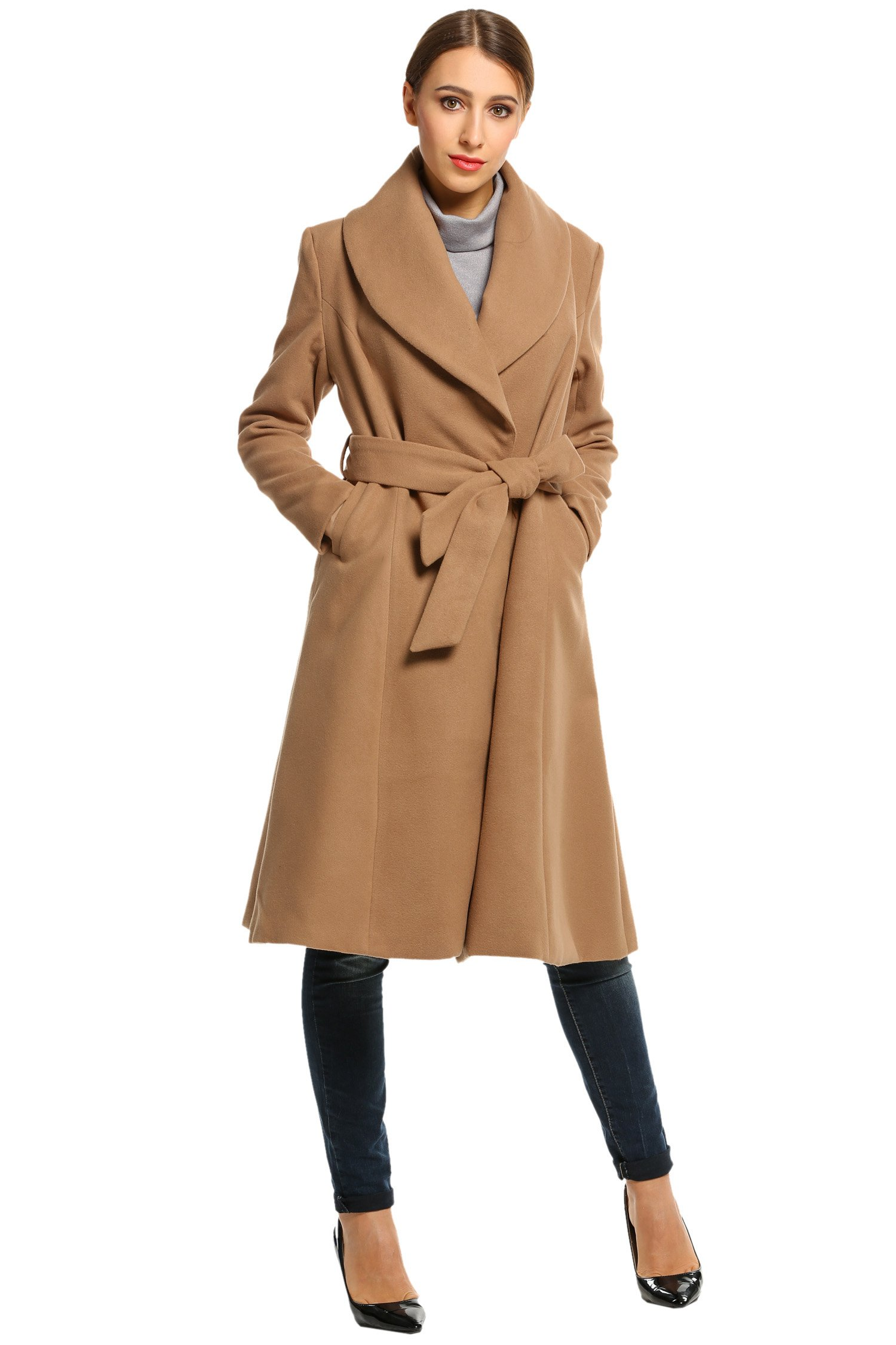 Hotouch Womens Single Button Closure Winter Long Trench Jackets Coat Camel XL