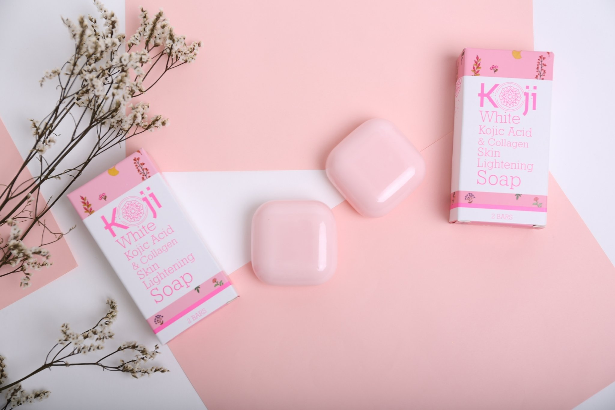 Kojic Acid & Collagen Skin Lightening Soap (2.82 oz/2 Bars) – Natural Skin Brightening For Even Complexion – Moisturizes, Reduces Acne Scars & Wrinkles, Fades Dark Or Red Spots & Freckles by koji white (Image #2)