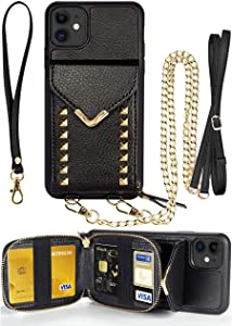 ZVE iPhone 11 Wallet Case, iPhone 11 Crossbody Case with Zipper Card Slot Holder Wrist Strap Shoulder Chain Protective Cover for iPhone 11 6.1 inch - Black