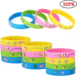 32Pack Cute Shark Silicone Wristbands Bracelets Baby Kids Birthday Party Supplies Favors