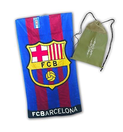 Toalla del FC BARCELONA de 100x170cm, 100% algodón. Con práctica mochila de regalo