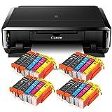Canon Pixma iP7250 Tintenstrahldrucker mit WLAN, Fotodrucker und CD-Bedruck, Auto Duplex Druck (9600x2400 dpi, USB) + USB Kabel + 20er Set IC-Office XL Tintenpatronen (Originalpatronen nicht im Lieferumfang)