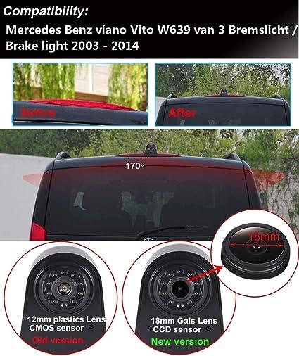 HD IP68 Transporter Nocturna IR Luz Freno C/ámara de Marcha Atr/ás Visi/ón Trasera Coche Puede Ajustar el /ángulo para Mercedes Benz Viano Vito W639 Van 3 C/ámaras de visi/ón Trasera