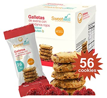 Sweetwell Sugar Free Cookies, Oatmeal with Cranberry - 56 Units (14 Packs of 4