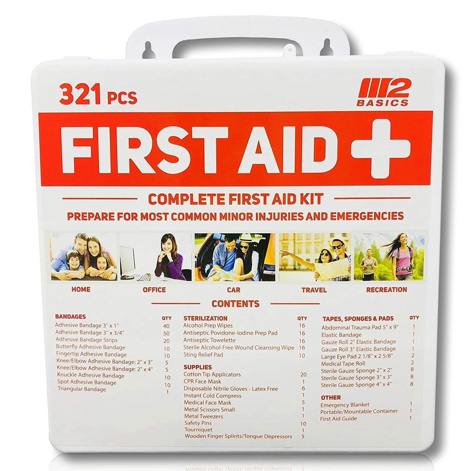 M2 Basics 321 Piece Premium First Aid Kit w/Wall Mount Hard Case | Free First Aid Guide | Emergency Medical Supply | Home, Office, Outdoors, Car, Camping, Travel, Survival, Workplace