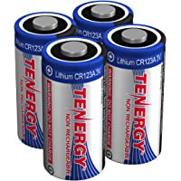 Tenergy 3V CR123A Lithium Battery, High Performance CR123A Cell Batteries PTC Protected for Cameras and Smart Sensors 4 Pack (Non-Rechargeable)