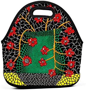 Yayoi Kusama art Insulated Neoprene Lunch Bag Tote Handbag lunchbox Food Container Gourmet Tote Cooler warm Pouch For School work Office