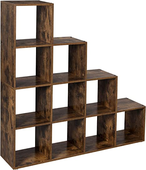 VASAGLE Estantería en Forma de Escalera, Estantería de Almacenamiento con 10 Cubos, de Madera, Ideal para Estudio, Sala de Estar y Dormitorio, Marrón Rústico, LBC10BX: Amazon.es: Hogar