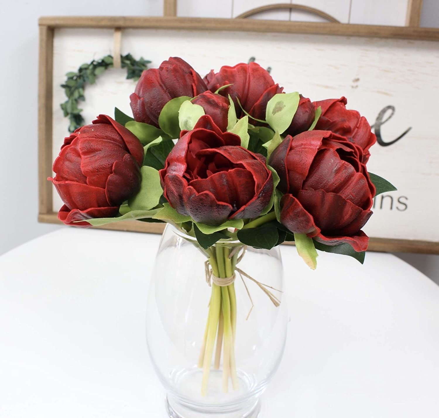 Angel Isabella, LLC Real Touch Peony Bouquet - 6 Blooms 2buds PU Life-Like Realistic Touch Artificial Flowers for Decor, Wedding, Crafts (Apple Red)