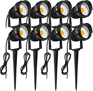 JESLED 7W LED Landscape Spot Lights, Low Voltage 12V 24V Waterproof Outdoor Landscaping Spotlights, Garden Lights Super Warm White, Walkway Pathway Walls Flags Trees Yard Lighting with Spike Stand (8-Pack)
