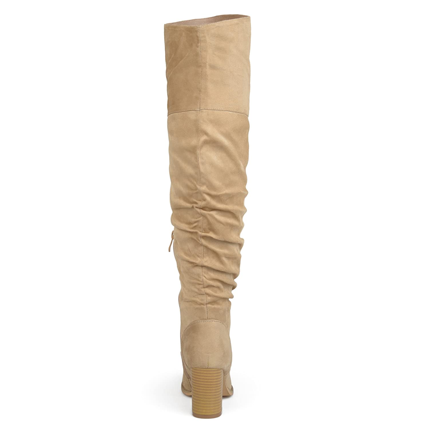 38fe4ec284 Amazon.com | Brinley Co. Womens Regular Wide Calf and Extra Wide Calf  Ruched Stacked Heel Faux Suede Over-The-Knee Boots | Over-the-Knee