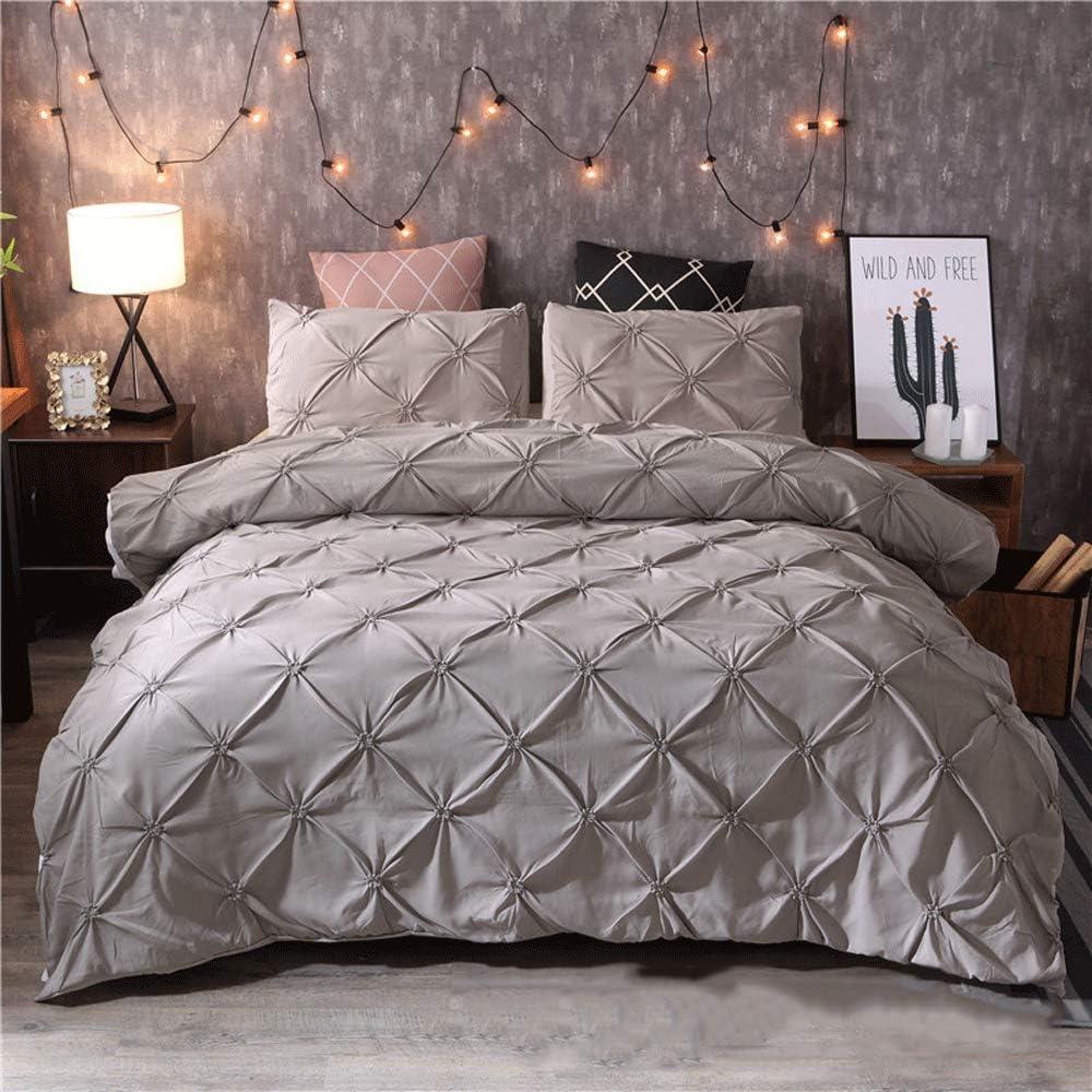 HXPH Linen Zone 5 Piece 300 Thread 100% Egyptian Cotton Sateen Luxury Reversible Duvet Cover Set (Super King)