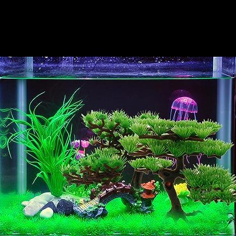 Everpert Plantas Plásticas para Peces Tanks, Planta Artificial Acuario Rockery Bonsai Hotel Acuario Adornos