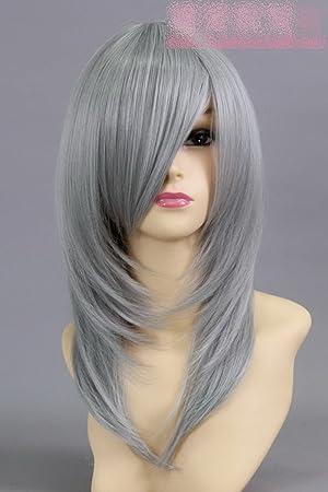 recta plata peluca gris larga peluca cosplay 50cm anti-Alice Chang Noche mágica Glow división