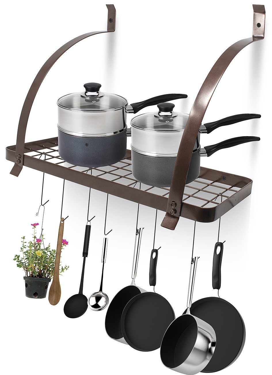 amazon com sorbus kitchen wall pot rack with hooks decorative