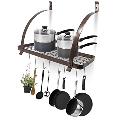 Sorbus Kitchen Wall Pot Rack with Hooks — Decorative Wall Mounted Storage Rack — Multi-Purpose Shelf Organizer Great for Kitchen Cookware, Utensils, Pans, Books, Household Items, Bathroom (Bronze)