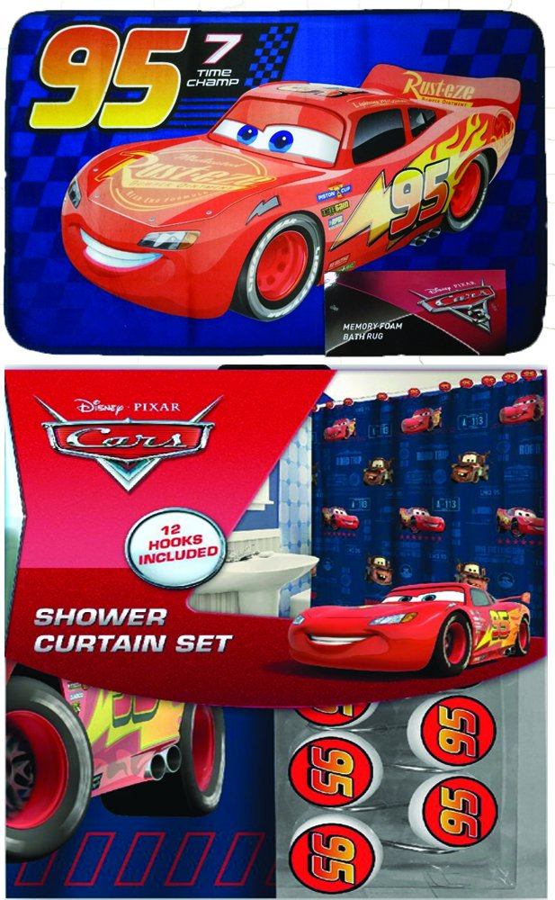 Disney Marvel New 13pcs Set (Shower Curtain with Hooks) OR 14pcs Set (Shower Curtain Set with Bath Memory Foam Mat) (Cars, 14pcs Set - Shower Curtain set & Memory Mat)