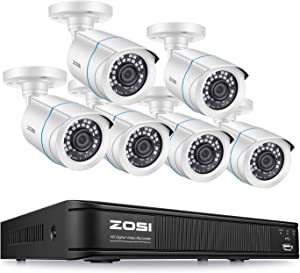 ZOSI 1080p Home Security Camera System Outdoor Indoor, H.265+ CCTV DVR Recorder 8 Channel with 6 x 1080p Weatherproof Surveillance Bullet Camera, 80ft Night Vision, Remote Access, No Hard Drive