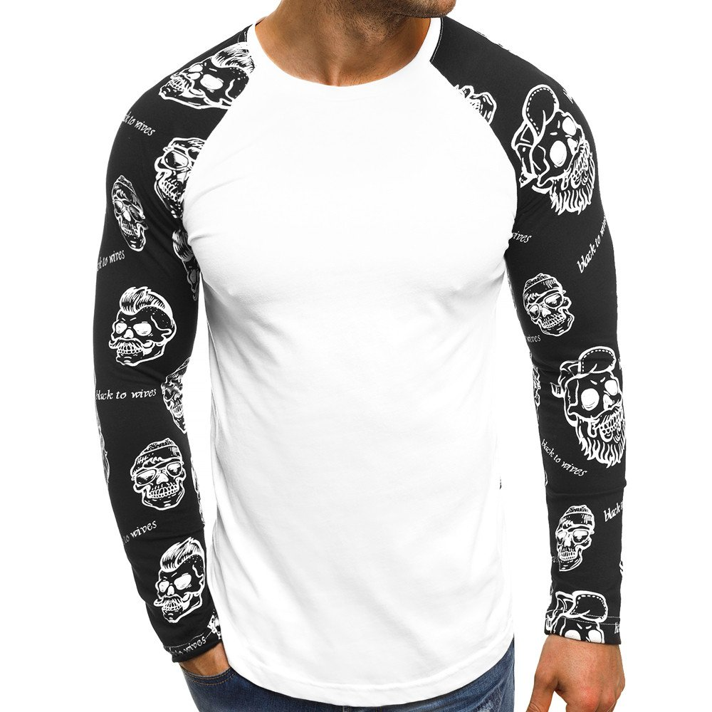 Realdo Clearance Sale Mens Long Sleeve Skull Letters Print Patchwork Tops Tshirt