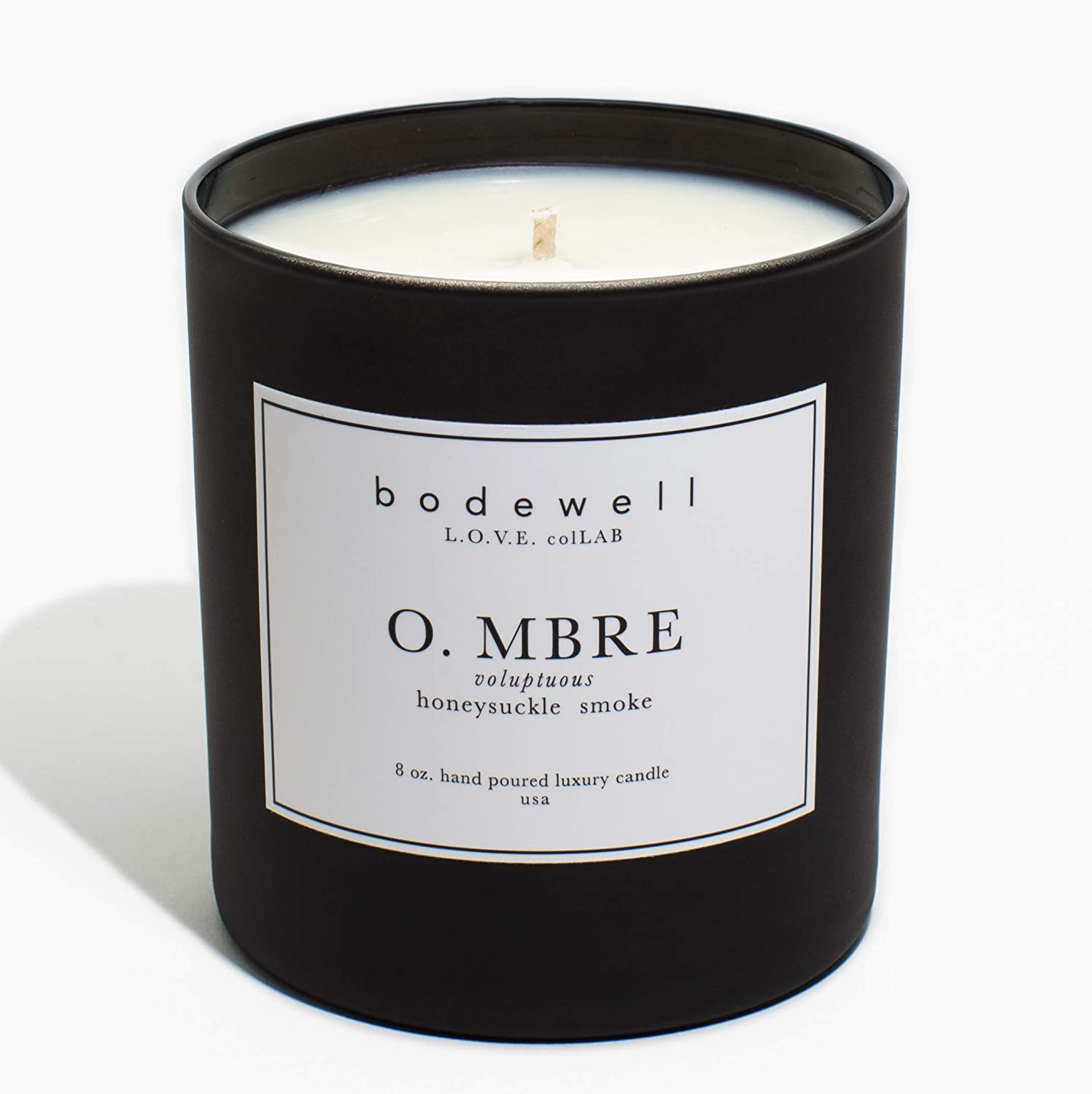 Bodewell Home O.MBRE Candle 8 oz All Natural Premium Scented Luxury Candle - Honeysuckle, Smoke