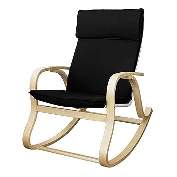 SoBuy® Silla de relada, mecedora, sillón de relada, Negro, FST15-SCH