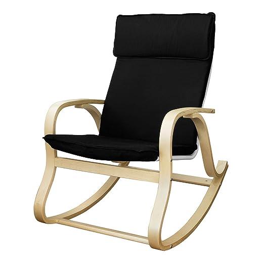 SoBuy Mecedora, diseño de relax Sillón giratorio, silla, negro ...