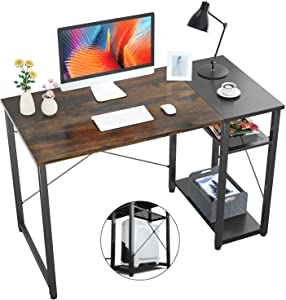Foxemart Home Office Computer Desk, 39 inch Sturdy Writing Desk with 2-Tier Storage Shelves, Modern Simple Style PC Desk, for Home, Office, Study Room, Bedroom(Vintage Oak Finish)