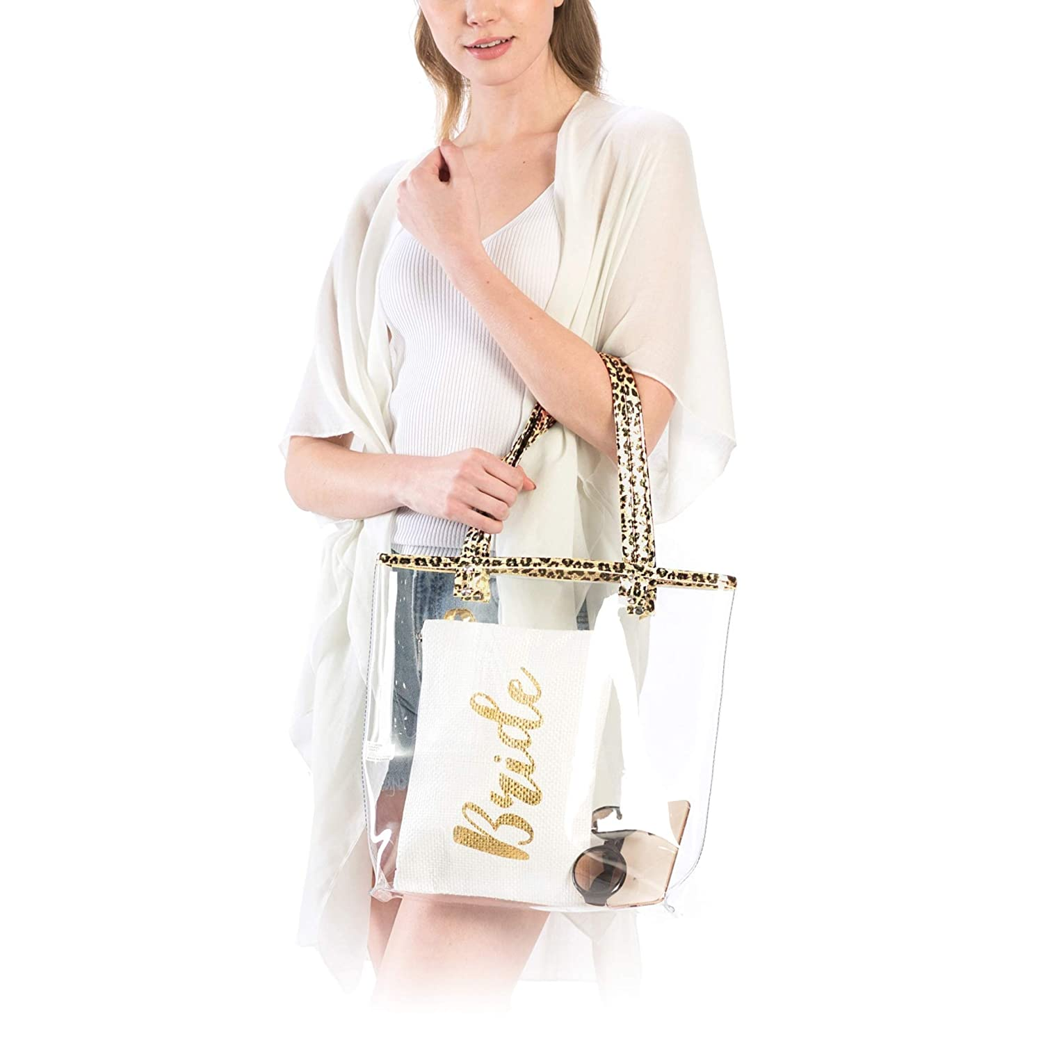2e30b4fbd98f Me Plus Women Fashion Transparent Clear Hologram PVC Tote Bag Purse with  Leopard Print Trim