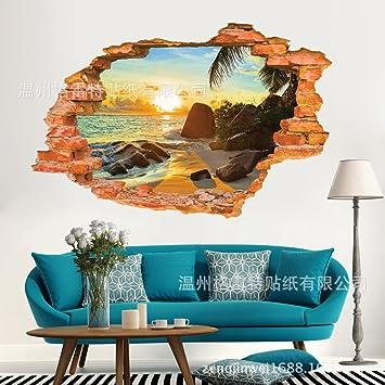 ZHFC- -3d - wohnzimmer mit sofa hintergrund mauern mit aufklebern ...