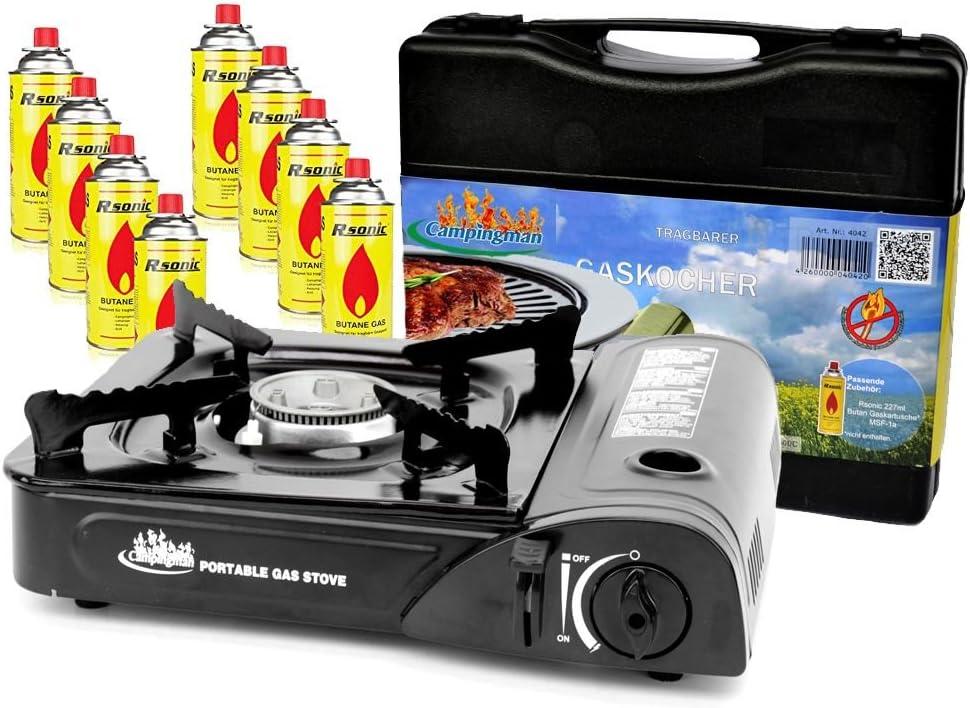 Campingman Hornillo de gas para camping, 8 cartuchos de gas, 2,3 kW + maletín