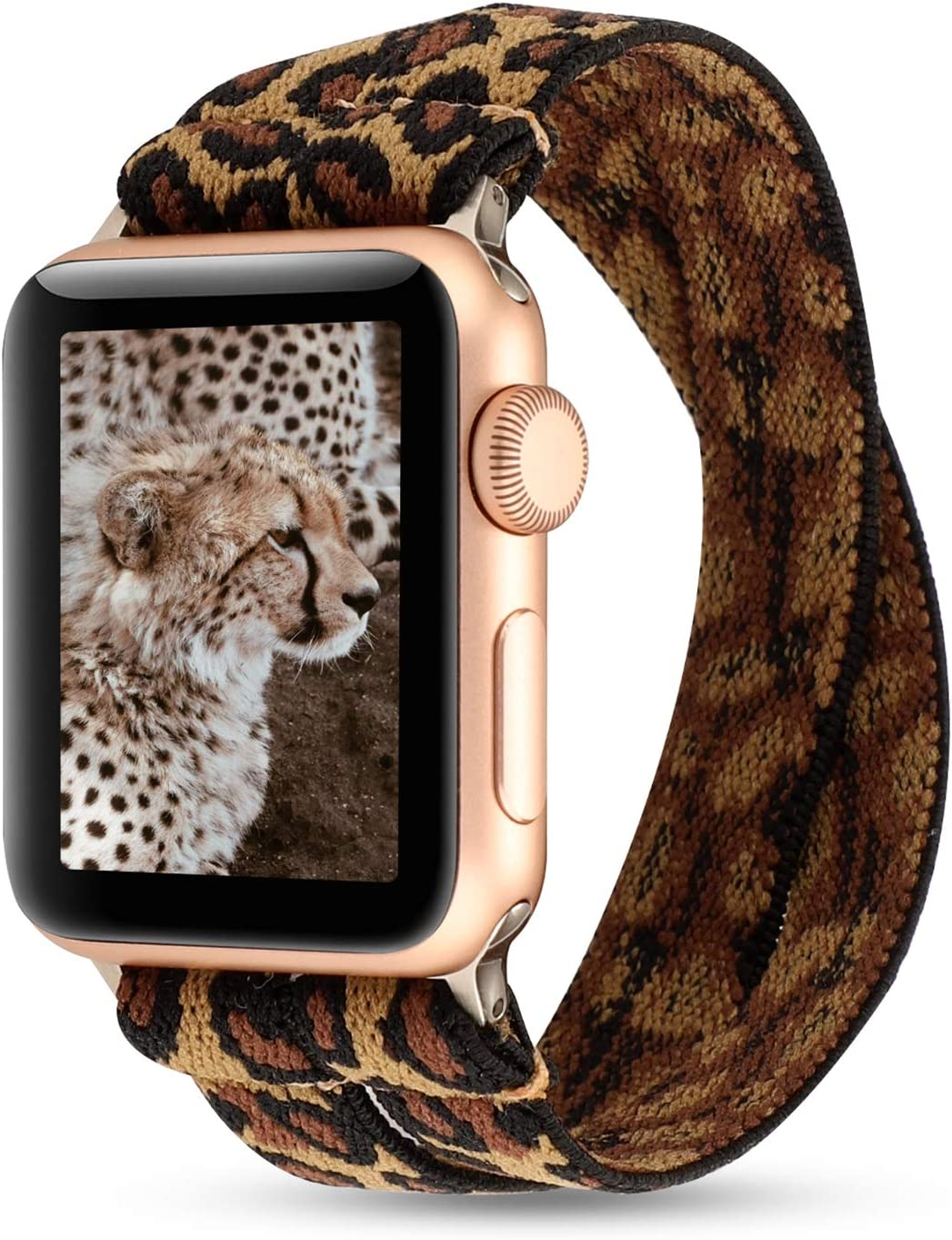 PENKEY Women Elastic Watch Band Compatible for Apple Watch 38mm 40mm 42mm 44mm,Stretchy Wristbands Replacement for IWatch Series 1 2 3 4 5 (Double Leopard, 38/40mm)
