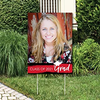product image for Big Dot of Happiness Custom Red Grad - Best is Yet to Come - Photo Yard Sign - Red 2021 Graduation Party Decorations