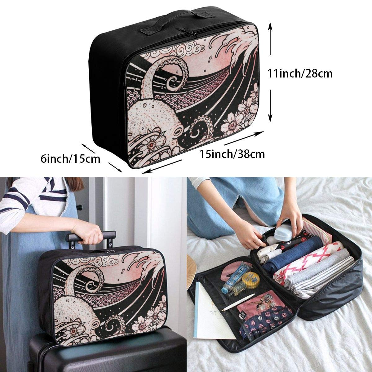 Japanese Tattoo Style Original Sketch Drawing Travel Lightweight Waterproof Folding Storage Carry Luggage Duffle Tote Bag Large Capacity In Trolley Handle Bags 6x11x15 Inch