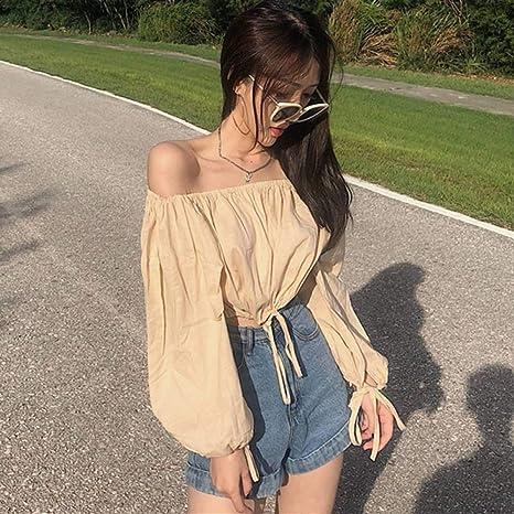 YUGNOL Camisas Mujer Versión Femenina Suelta Delgada Palabra