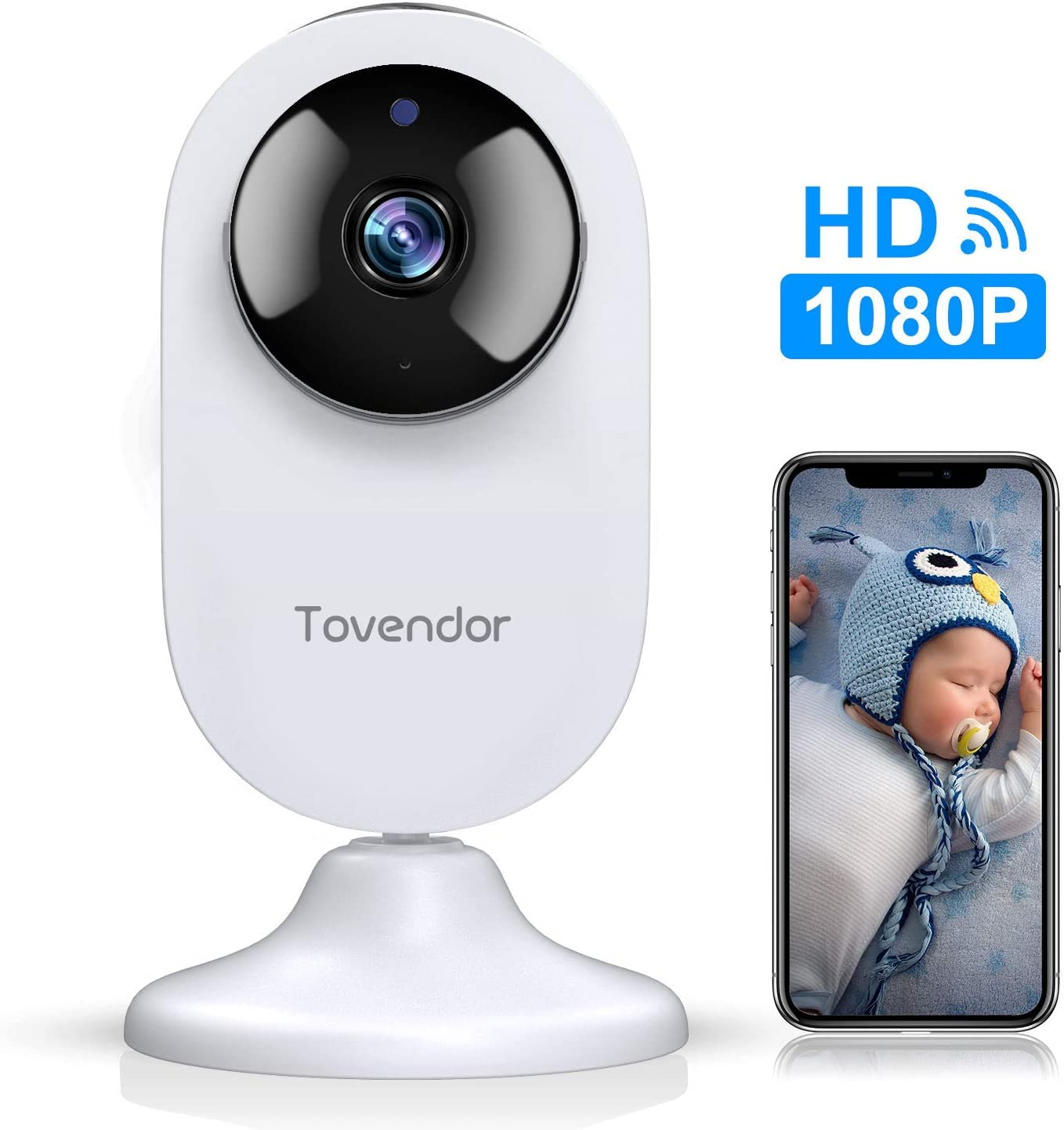 Mini Smart Home Camera, Tovendor 1080P WiFi IP Security Camera with Cloud Storage/Night Vision/Motion Detection, Wide Angle Nanny Baby/Pet Monitor with Two Way Audio