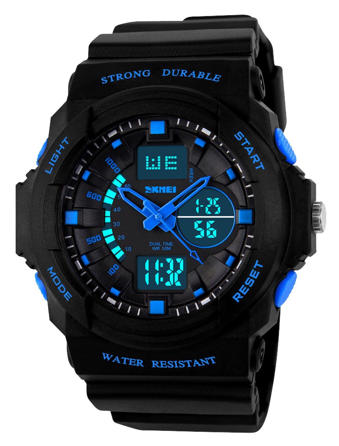Kid LED Watch Child Boy Girl Sport Multi Function Digital Waterproof Electronic Quartz Watches Blue by Viliysun