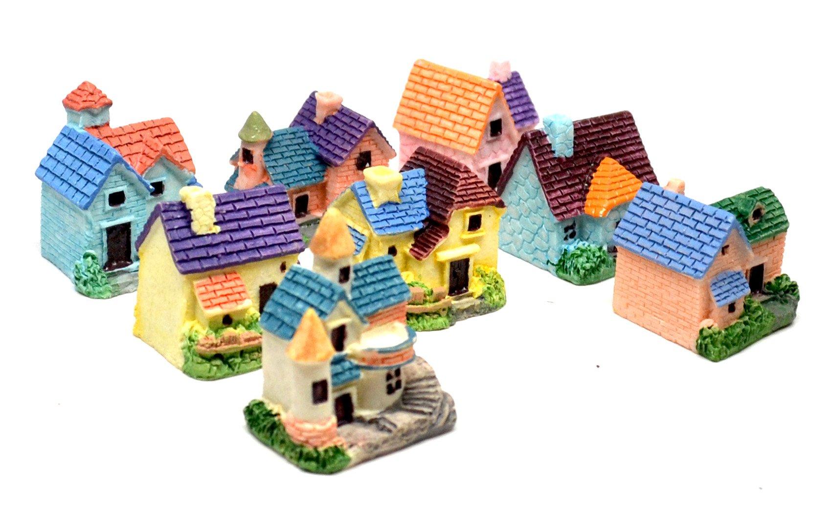 Pixie Glare Fairy Garden Miniature Houses Multicolor - 8 Pack (Multicolor 8 Pack)