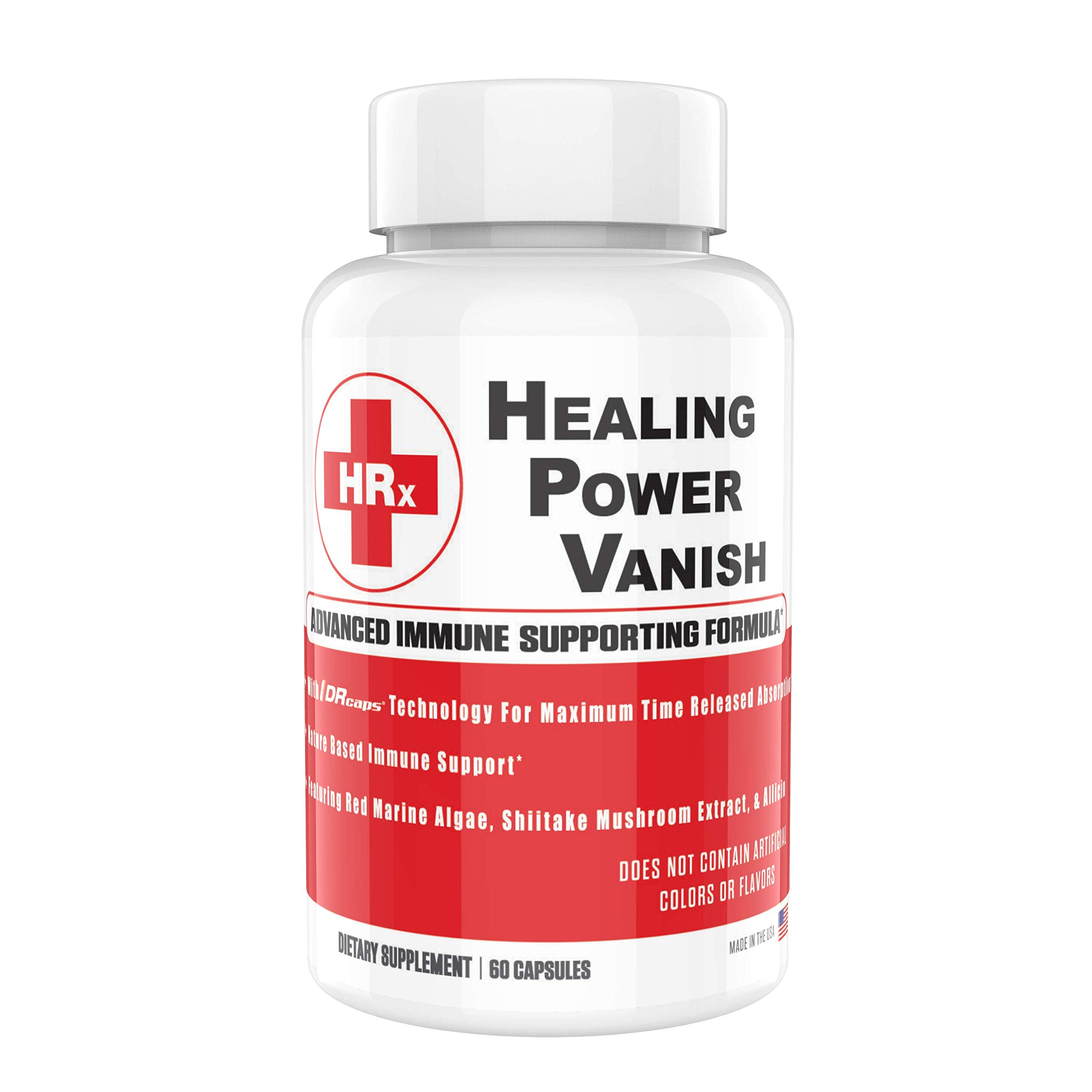 Healing Power Vanish HPV Support Supplements Supports Healthy Immune Response 1450mg - Pure Shiitake Mushroom Extract & Red Marine Algae Supplements - Immune System Booster - 60 Capsules