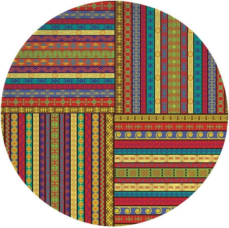 """Ylljy00 African 7"""" Dinner Plate,Set of Ethnic Borders Pattern Old Fashioned Ancient Culture Colorful Artful Print Decorative Ceramic Decorative Plates,Dining Table Tabletop Home Decor,Multicolor"""
