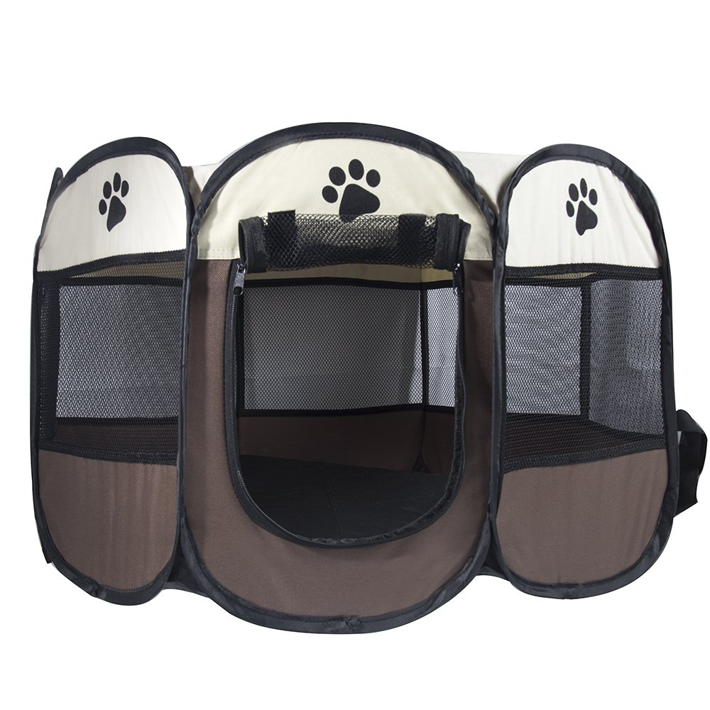 MiLuck Pet Portable Foldable Playpen, Exercise 8-Panel Kennel Mesh Shade Cover Indoor/outdoor Tent Fence For Dogs Cats(L/Brown) by MiLuck (Image #4)