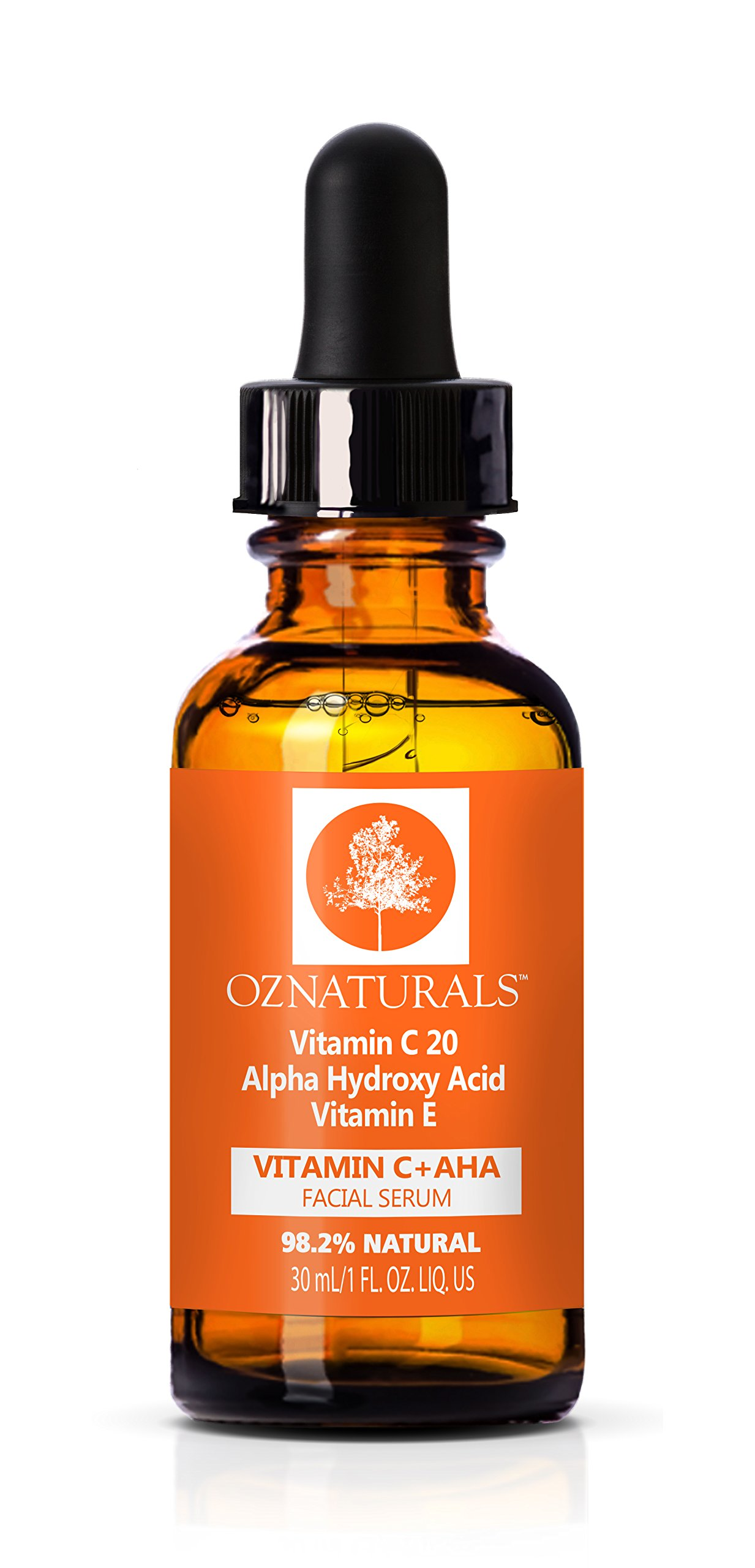 OZNaturals Vitamin C Skin Serum + AHA Glycolic Acid For Your Face - This Anti Aging Anti Wrinkle Serum Delivers The Youthful Glow You've Been Looking For! 1 fl.oz