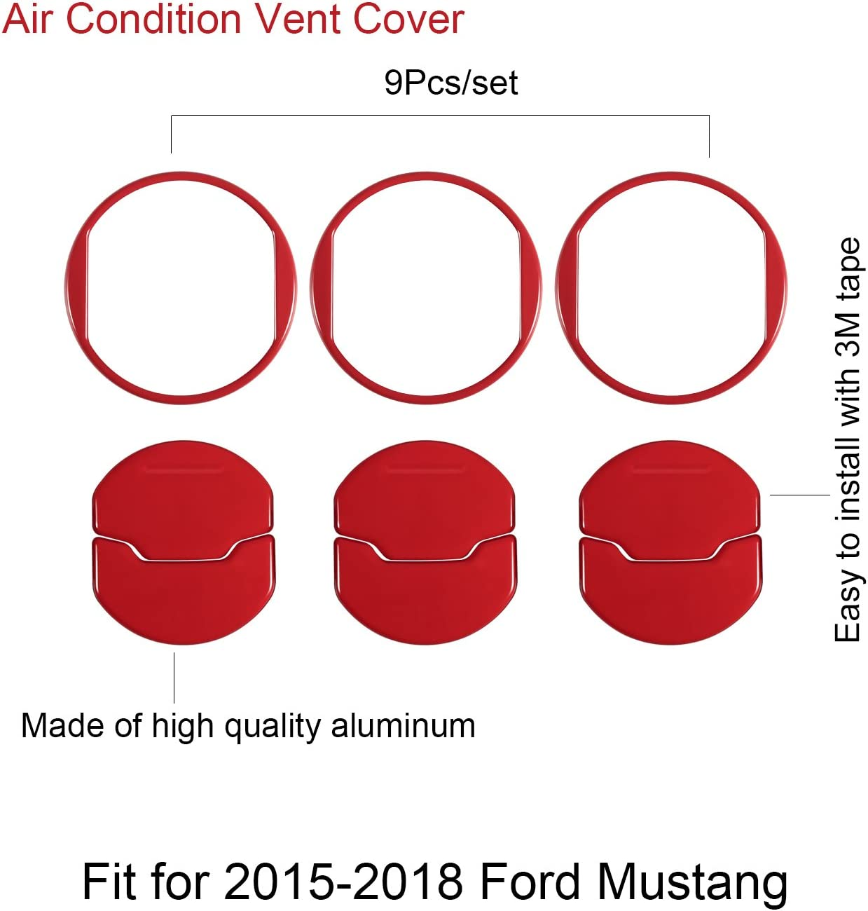 Red Danti Car Interior Accessories Decoration Console Central /& Car Door /& Dash Board Side Air Conditioner Outlet Vent Shift Gear Box Switch Button Cover Trim For 2015-2019 Ford Mustang
