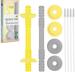 Teething Tube with Safety Shield Baby Hollow Teether Sensory Toys Gum Massager, Food-Grade Silicone for Infant 3-12 Months Boys Girls, 1 Pair with 4 Cleaning Brush Included (Yellow+Gray)