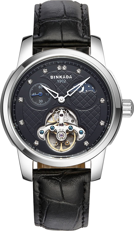BINKADA Mechanical Tourbillon自動ブラックダイヤルメンズ腕時計# 800302 – 2 B01DZLWMPQ